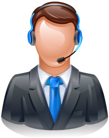 tech support assistant with headset. Illustration.